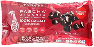 Pascha Organic Allergen-Free Unsweetened Dark Chocolate Chips 100 Percent Cacao 8.8 Ounce Pack of 6 (Total 52.8 Ounce)