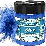 JEMESI 100g Pigmentos para Resina Epoxi, Pigmento polvo de Mica de Metálico Natural, Colorante Jabon, para Bombas de Baño,Slime, Maquillaje, Arte Uñas, Pintura -- Azul