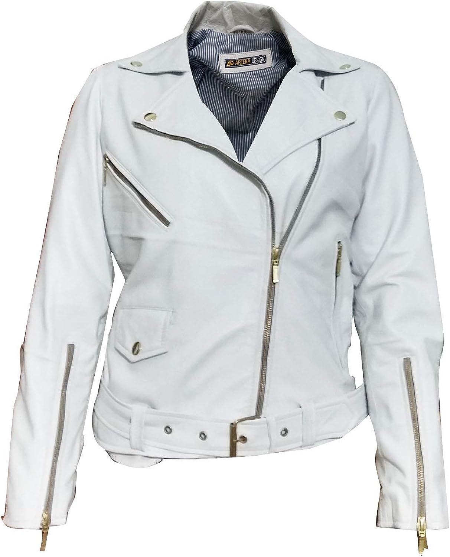 Marche Women's Slimfit Cropped Biker White Leather Jacket Brando 2XS to 3XL