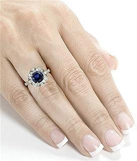 Metmejiao 3 Carat 925 Sterling Silver Created Blue Topaz Zircon Flower Ring Womens Red CZ Flower Ring Halo Engagement Wedd...