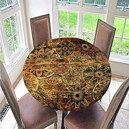 Fansu Mantel Redonda Antimanchas, Mantel Borde Elástico 3D Impreso Bohemio Impermeable Poliéster Manteles Usado para Comedor Cocina Jardín Picnic Exterior (Antiguo,130cm)