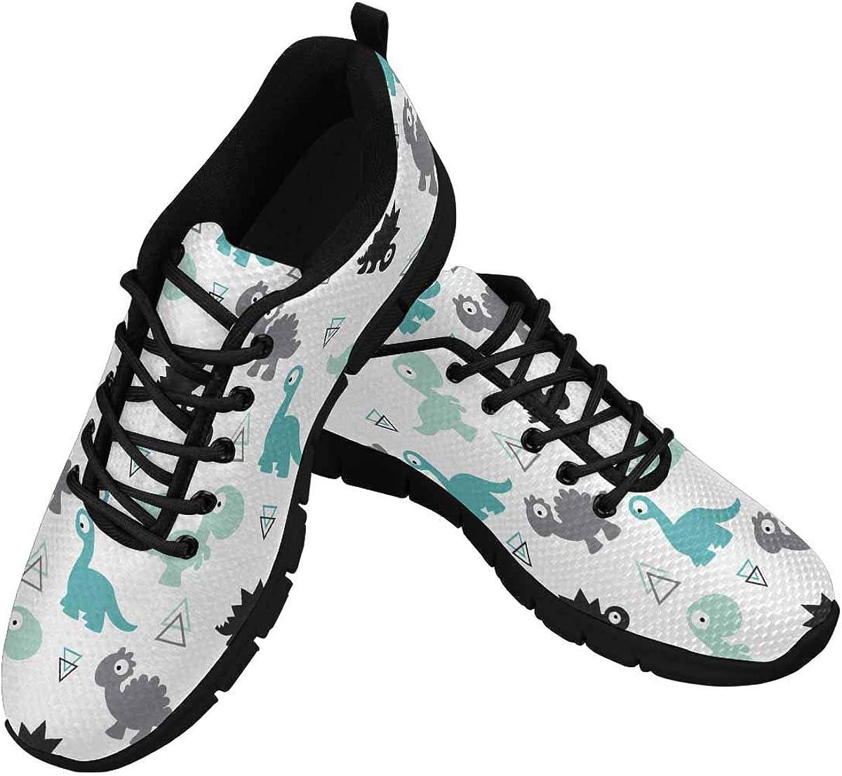 InterestPrint Girls and Boys, Colorful Dinosaurs Women's Tennis Running Shoes Lightweight Sneakers