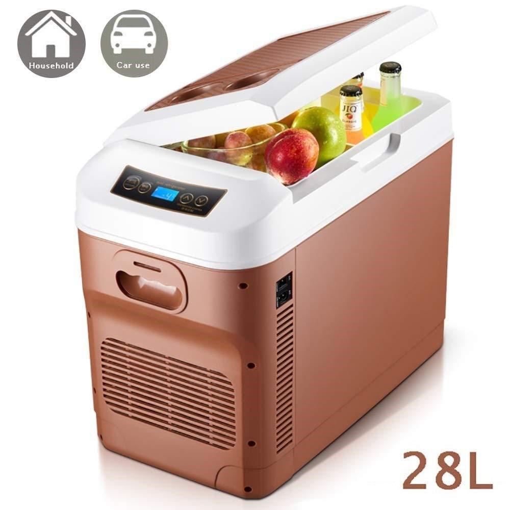 1yess Frigorífico congelador de refrigerador del refrigerador del Coche de Caja y 28L Mini Enchufe portátil 12V 24V 230V móvil del refrigerador del Coche Cajas frías Tranquilo-Brown (Color : Brown): Amazon.es: Deportes
