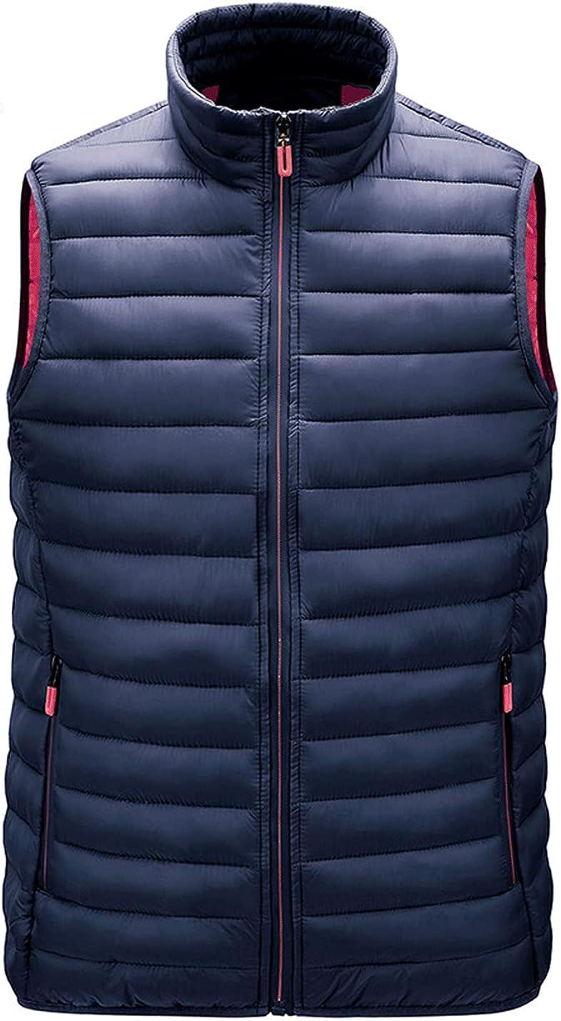 Gnveub Men's Lightweight Outdoor Casual Stand Collar Padded Puffer Vest Sleeveless Outerwear Jacket