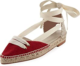 Castaner by Manolo Blahnik Colorblock Ankle-Wrap D'Orsay Espadrille, Red/White 41