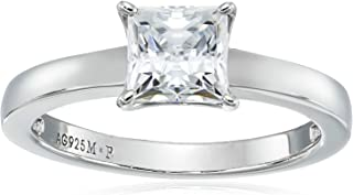 Platinum or Gold Plated Sterling Silver Princess-Cut Solitaire Ring made with Swarovski Zirconia