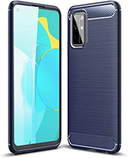 UKDANDANWEI Case for Honor 30S, Carbon Fiber Texture Case Soft Lightweight TPU Back Cover for Honor 30S - Blue