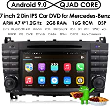 7 inch Dash Android 9.0 Car Stereo DVD Player 2 Din Head Unit GPS Navigation for Mercedes Benz C-Class W203 CLC Class CLC W203 CLK Class W209 Support GPS Sat Nav, DAB+, BT, RDS Radio, SWC, 4G WiFi