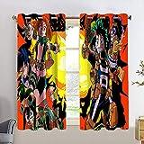 Total Blackout Cortinas de ventana My Hero Academia Tratamiento Cortinas para sala de estar de niño 2 paneles de tratamiento de ventanas Set de 55 x 63