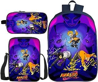 Naruto Impreso Mochila Escolar para niños Mochila Mochila Traje de Tres Piezas 2