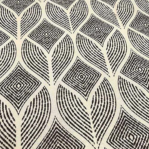 Kt KILOtela Tela de loneta Estampada Digital - Half Panamá 100% algodón - Retal de 100 cm Largo x 280 cm Ancho | Geométrico, Rombos, Hojas - Negro, Beige ─ 1 Metro