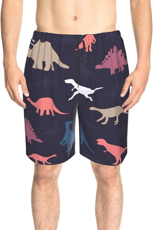 JINJUELS Men's Swim Shorts Cute Dinosaurs Colorful Swim Boardshorts Fast Dry Fashion Summer Boardshorts with Pockets