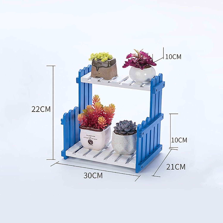 NYDZDM Wooden Flower Stand, 2 Outdoor Balcony, Indoor Floor Bonsai Floor Shelf (Size   30×21×22cm)