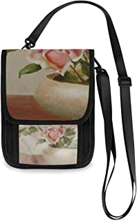 Bowl Of Roses Oil Neck Wallet Concealed Passport Holder and Family Travel Neck Pouch Hidden Passport Holder Wallet Neck Stash Document Organizer For Men Women