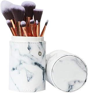 Ruesious Marble Makeup Brush Set with Brush Holder Pot   Premium Synthetic Foundation Powder Concealers Blending Eye Shadows Face Makeup Brush Sets(10 Pcs)