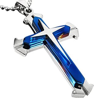 Deal Stainless Steel Cross Pendant Necklace for Easter, Christmas, Birthday Gifts Jewelry, Chain Included for Men, Women & Teens   Simple Black Cross Pendant Lord's Prayer Necklace (Blue)