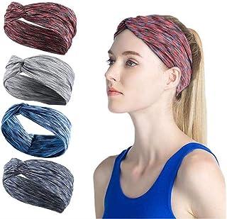 Ushiny - Fascia elastica per capelli boho annodata con turbante, fascia elastica per capelli a righe intrecciate, per donn...