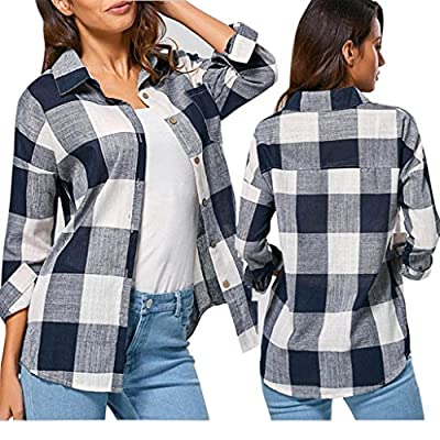 Clearance! Taore Women's Casual Plaid Loose Shirts Long Sleeve T Shirt Tops Blouse