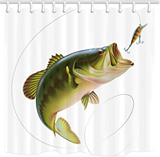NYMB 3D Digital Printing Fishing Shower Curtain, Bait with Fishing Line Eatting Litter Fish, Polyester Fabric Bathroom Decor, Bath Curtains Hooks Included, 69X70 inches (Multi17)