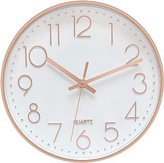 Foxtop Horloge Murale sans tic-tac, Moderne, Silencieuse, Quartz Ronde Pendules Murales pour Salon Cuisine Bureau (Or Rose...