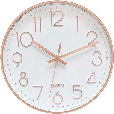 Foxtop Modern Wall Clock, Silent Non-Ticking Quartz Decorative Battery Operated Wall Clock Living Room Home Office School w R