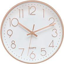 ساعت دیواری مدرن Foxtop ، کوارتز خاموش و خاموش خاموش باتری تزئینی برای اتاق نشیمن خانه مدرسه مدرسه w گلد پلاستیکی قاب گلد گل رز (12 اینچ ، عربی عربی)