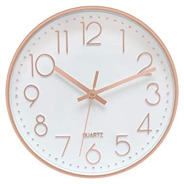 Foxtop Modern Silent Quartz Wall Clock Non-Ticking Decorative Battery Operated Clock for Living Room Home Office School w Rose Gold Plastic Frame Glass Cover (12 inch, Arabic Numeral)