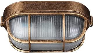 Brass Bulkhead Oval Outdoor Moisture Proof and Fog Proof Waterproof Lamp Light Wall Lamp Industrial Vintage Light [Energy Class A++]