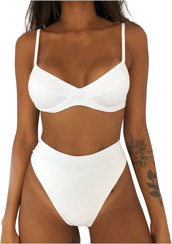 BHSJ Women Sexy Leopard Print Bikini Set Push Up Bathing Suits High Waist Swimwear Two Piece Swimsuit for Women
