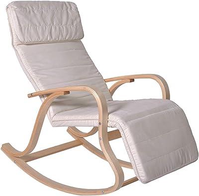 PEGANE Rocking-Chair Multipositions Alex II en Alcantara Crème, L65 x H91 x P101 cm