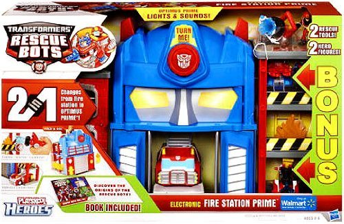 Transformers Rescue Bots EXCLUSIVE BONUS Electronic Playset Fire Station Prim...