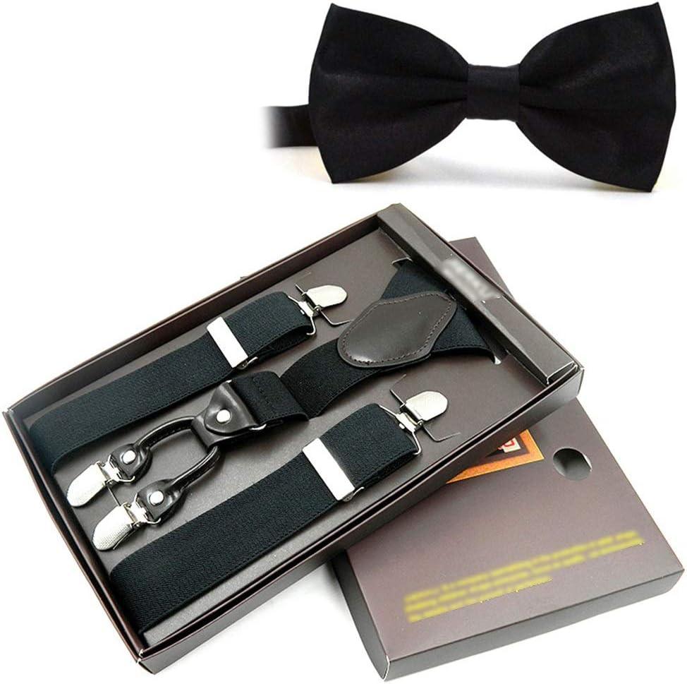Mens X Shape Braces Adjustable Elastic Suspenders Adjustable and Durable Suspenders Y Form Unisex One Size Fits All Mens Elastic Braces Bow Tie Set with 4 Metal Clips Wide 3.5 cm 1.4 inch Men's suspen