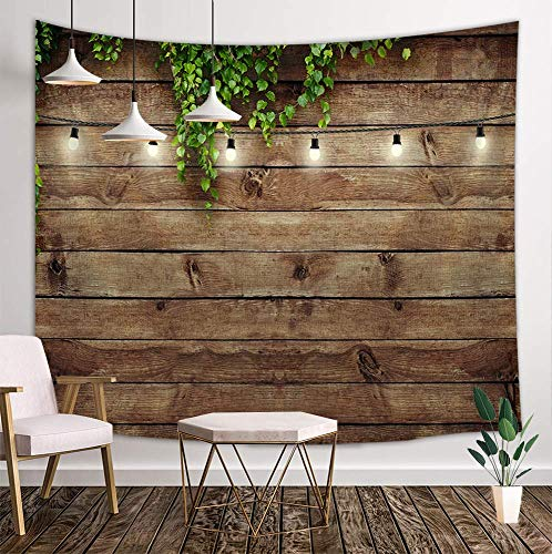 Vintage Wooden Board Tapestry, Green Leaves on Country Wood Rustic Barn Door Deocr, Wall Art Hanging Blankets Home Decor for Bedroom Living Room Dorm, 80X60 Inches