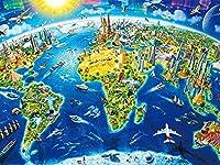 Phinli 大人のジグソーパズルのための1000ピースのパズル-マップシリーズ興味深い世界