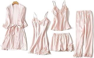 Elonglin Women's Pajamas 5 Pcs Set Sexy Imitation Silk Satin Kimono+Camisole+Nightdresses+Long Pant+Short Pant, Sleepwear Set