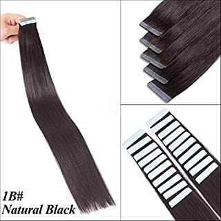 Tape in Hair Extensions Natural Black Silky Straight 14 Inches Human Hair Tape in Extensions 30 Grams 20 Pieces