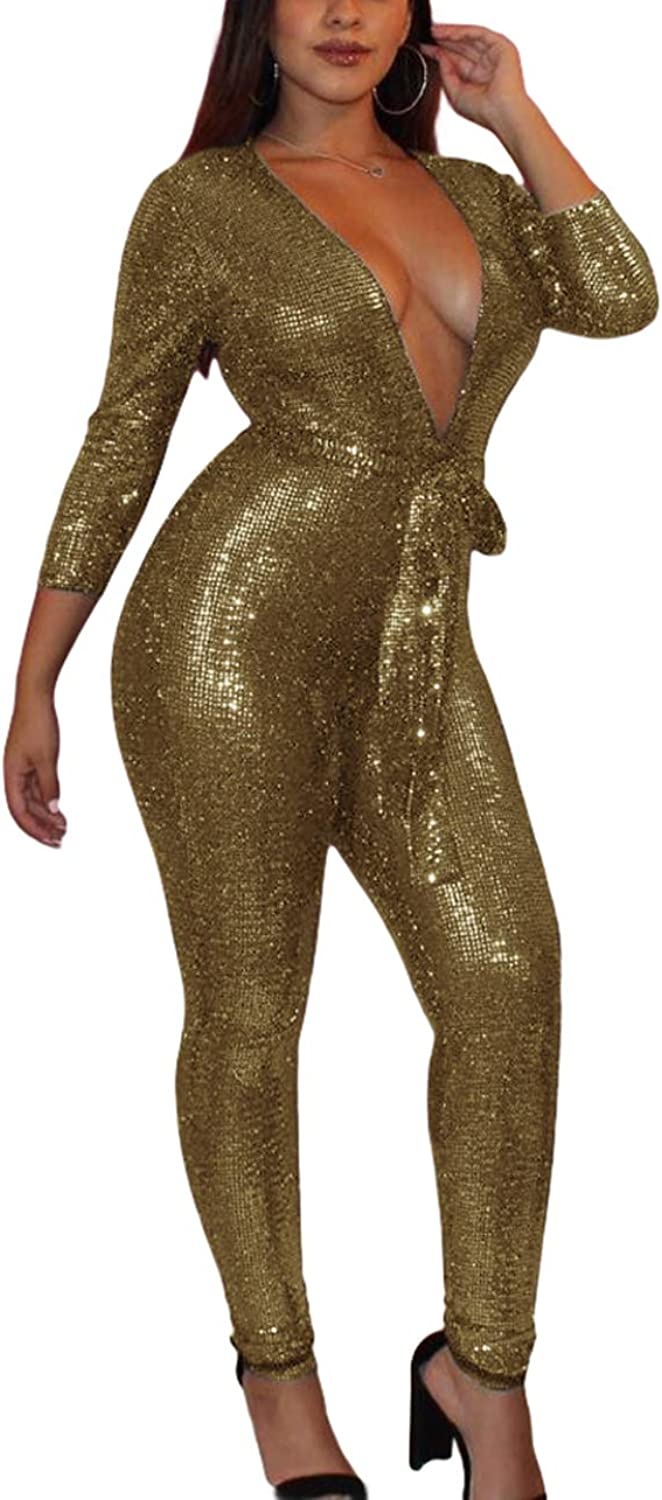 blueewolfsea Women Ladies Glitter Bodycon Club Jumpsuit Long Sleeve Sexy Deep V Neck Party Romper