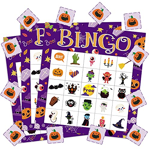 Haooryx Halloween Bingo Game 24 Players for Halloween Party Games Favors School Classroom Group Activities Carnival Prize Fun Family Game Multi-Players Party Supplies