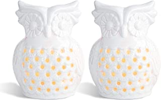 ComSaf Owl Oil Burners with Candle Spoon Set of 2, White Porcelain Wax Melts Burners Lovely Essential Oil Burner Aroma Dif...