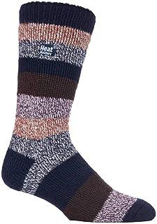 Heat Holders - Mens New Patterned Warm Winter Striped Twist Thermal Socks in 10 colours, size 6-11 UK 39-45 Eur