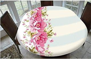 Nappe de table en polyester avec bords élastiques, bordure rose pivoine sur carreaux à rayures verticales, nappe de mariag...