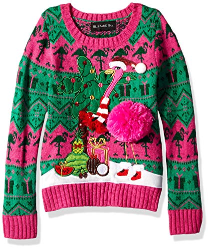 Blizzard Bay Girls Ugly Christmas Sweater Animals, Raspberry Rose Combo, S 4