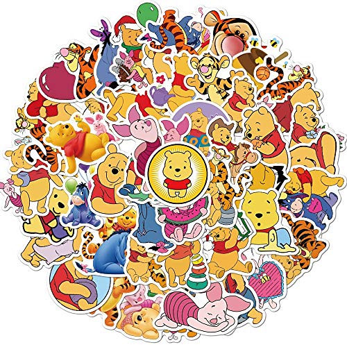 JZLMF Cartoon Winnie The Pooh Graffiti Stickers Bagagli Laptop Impermeabile Senza Lasciare Adesivi Colla 50 Pz