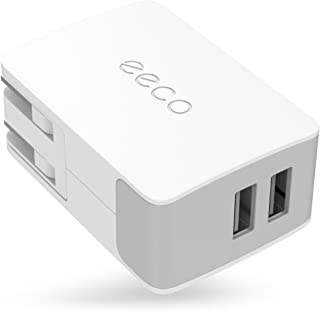eeco Dual USB Wall Charger Adapter 24W 4.8A with Foldable Plug, SmartIC Fast Charging and Universal Compatibility for iPhone X/8/7/6s/6s Plus, iPad Air/Pro/Mini, Samsung, Nexus, HTC, LG and Many More
