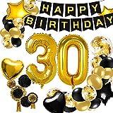 30 Geburtstag Dekoration, DIAOPROTECT Geburtstag Party Deko Schwarz Gold mit Happy Birthday Banner, Konfetti Luftballons,Herz Folienballons für Männer Mädchen Jungen Geburtstag Party