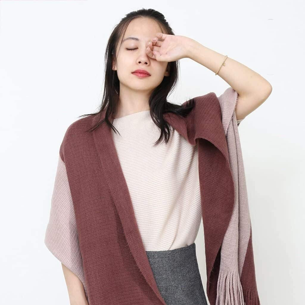 SYZHIWUJIA Womens Scarves Womens Winter Wild Solid Color Students Long Knit Thick Shawl Double Collar Silk Scarf