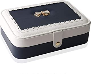 YD Jewelry Box - PU Leather/Flocking Fabric, Delicate and Soft, Openwork lace, Simple and Stylish Large-Capacity Single-Layer Leather Jewelry Storage Box - 2 Colors Available /& (Color : Beige)