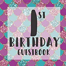 1st Birthday Guest Book: Glitter Mermaid Scales Purple Pink Themed - First Party Baby Anniversary Event Celebration Keepsake Book - Family Friend Sign ... W/ Gift Recorder Tracker Log & Picture Space