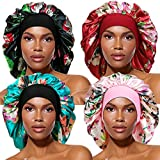 4 Pieces Large Satin Bonnet, Long Hair Sleep Cap With Wide Elastic Soft Band Big Sleeping Cap for Women Hair Care