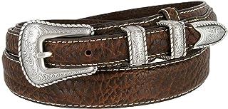 BBBelts Men Brown Leather Diagonal Hole Details Snap On Roller Buckle Belt